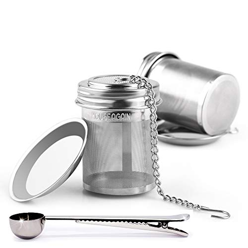 House Again 2 Pack Tea Ball Infuser & Metal Scoop with Bag Clip, Extra Fine Mesh Tea Infuser Screw Top 18/8 Stainless Steel with Extended Chain Hook to Brew Loose Leaf Tea, Spices (2 pack with scoop)