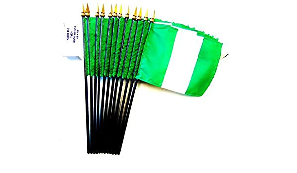1 Dozen 4x 6 Nigerian Small Mini Hand Waving Stick Flags Flags Only Pack of 12 4x6 Nigeria Polyester Miniature Office Desk /& Little Table Flags