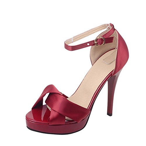 Buckle Wine Chic WomenS Carolbar Sandals High Stiletto Red Strap Evening Ankle Party Heel Sexy t1p1qnfw6