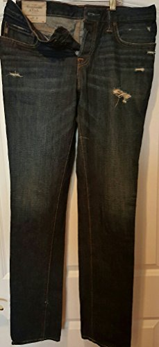 A & F Button Fly Skinny Jeans Dark Denim Worn Look Size 32 x (Abercrombie & Fitch Jeans)
