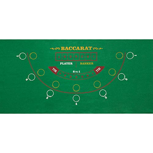 GSE Games & Sports Expert Casino Table Top Layout Mat(Blackjack/Craps/Roulette/Texas Holdem/Baccarat Available) (Baccarat)