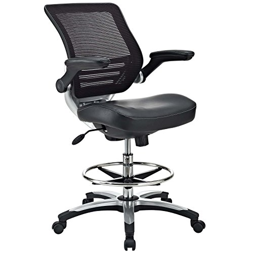 Modway Edge Drafting Chair In Black Vinyl – Reception Desk Chair – Tall Office Chair For Adjustable Standing Desks – Flip-Up Arm Drafting Table Chair