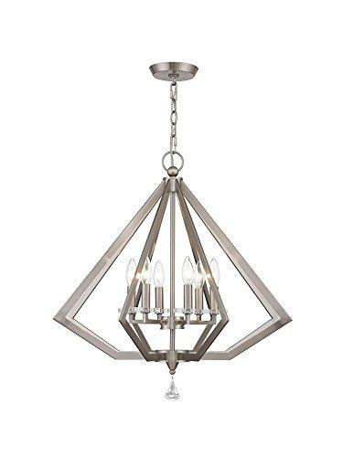 Livex Lighting 50666-91 Diamond 6-Light Chandelier, Brushed Nickel
