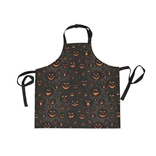 WIHVE Aprons Halloween Jack-O'-Lantern Unisex Kitchen Bib Apron with Adjustable Neck and 2 Pockets for Cooking Baking Gardening