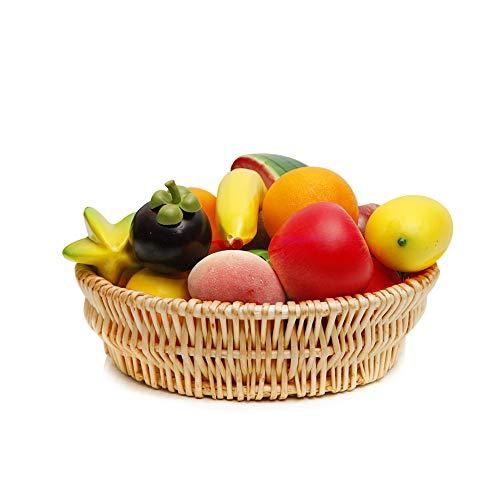- Round Wicker Basket Fruit Bread Tray Storage Basket Willow Handwoven Basket,Natural Color