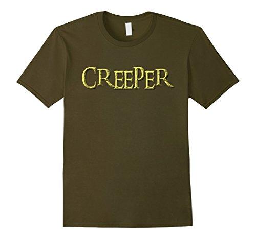 Creeper Costume Face (Mens Creeper Shirt - Creepy Funny Halloween Costume Real Meme T 2XL Olive)