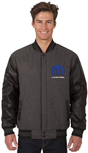 JH DESIGN GROUP Mens Mopar Logo Wool & Leather Reversible Jacket With Embroidered Emblems (X-Large, Charcoal Gray-Black) by JH DESIGN GROUP