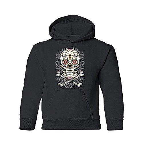 Day Of Dead Sugar Skull Youth Hoodie Brand New Sweatshirt Black Youth Medium by Zexpa Apparel (Image #2)
