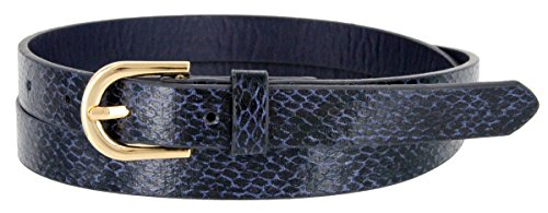 Women's Skinny Snakeskin Embossed Leather Casual Dress Belt with Buckle (Navy, Large) - Lizard Embossed Casual Belt