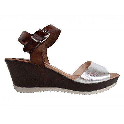 Zapatos de cuña de Mujer CUMBIA 30131 PLATA-NUEZ