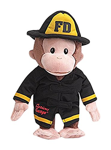 Gund Curious George Fireman Stuffed Animal - Firefighter Teddy Bear