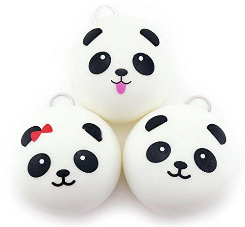 Prettymenny's 5PCS Cute 10cm Panda Buns Bread Charms Key/Bag/Cell Phone Straps (Strap Stacking Bar)