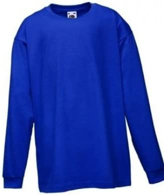 AGE 9//11, ROYAL BLUE 5 COLOURS FRUIT OF THE LOOM CHILDRENS LONG SLEEVE T SHIRT