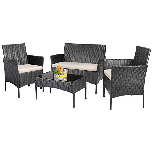 KaiMeng 4 Pieces Patio Furniture Sets Outdoor Indoor Use Conversation Sets Rattan Wicker Chair with Table Backyard Lawn Porch Garden Poolside Balcony Furniture(Black)