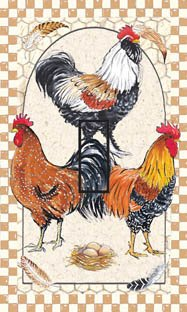 SwitchStix Pretty Boy Roosters Single Toggle Peel and Stick Switch Plate Cover Décor