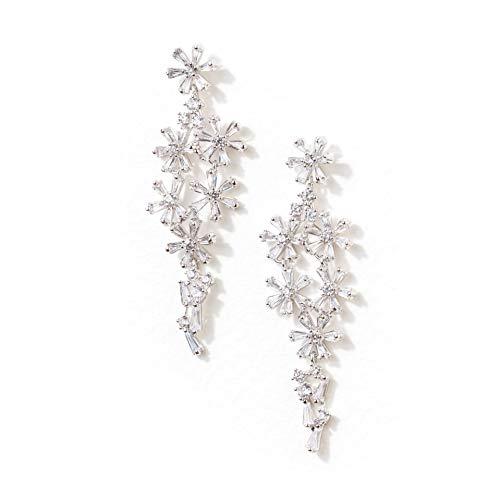 Formal Affair Floral Chandelier Wedding Earrings, CZ Simulated Diamond Cluster Dangle Earrings - Also Perfect for - Floral Earrings Wedding
