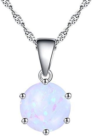 Ai.Moichien Redonda Ópalo Piedra Preciosa Durante Collar Delicada Elegante Cadena Joyería para Mujeres
