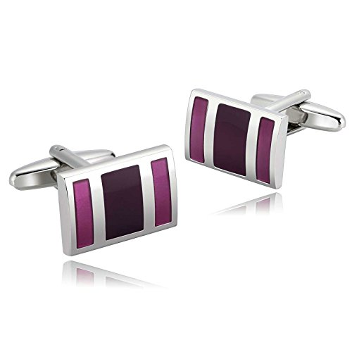 Mens Cufflinks Stainless Steel Silver Purple Enamel Rectangle Stripes Shirt 1.9X1.3CM Xmas Gift Box - Diy Shirt Captain America