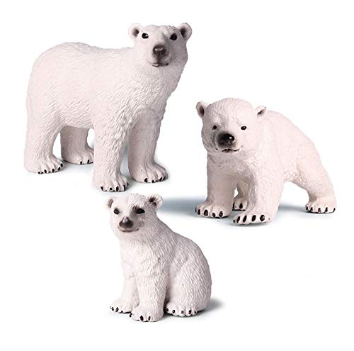 GRACEON Children's Simulation Wild Marine Animal Model Solid Environmental Protection Ornaments Polar Bear Toy Set 3 Pack | Cute Child Gift Doll| Big Toys That Children Can't Put Down
