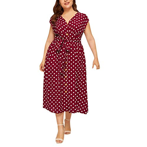 Sunmoot Clearance Sale Womens Plus Size Polka Dot Dress,Ladies Casual Summer V-Neck Sleeveless Printed Button Belt Dresses Red