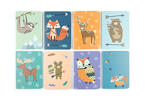 "OOLY 118-183 Pocket Pal Journal Pack of 8, (3.5"" x 5"") - Forest Friends"