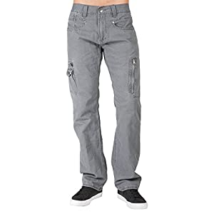 Level 7 Mens Charcoal Gray Relaxed Straight Premium Canvas Utility Jeans Cargo Zipper Pockets Garment Wash