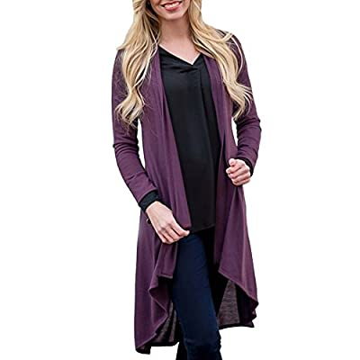 XOWRTE Cardigan for Women Black Long Sleeve Tunic Outerwear Blouse Jacket Autumn Solid Shawl Print Kimono Coat