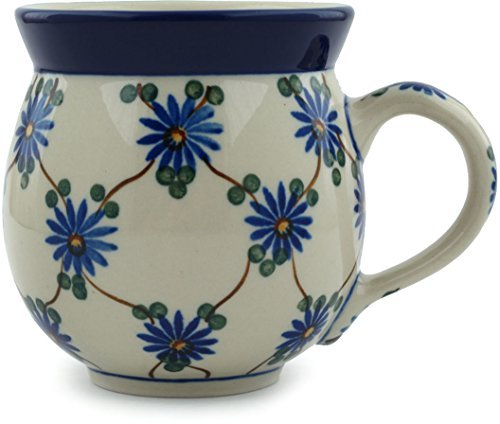 Polish Pottery Coffee Mug Bubble 12 oz Aster Trellis