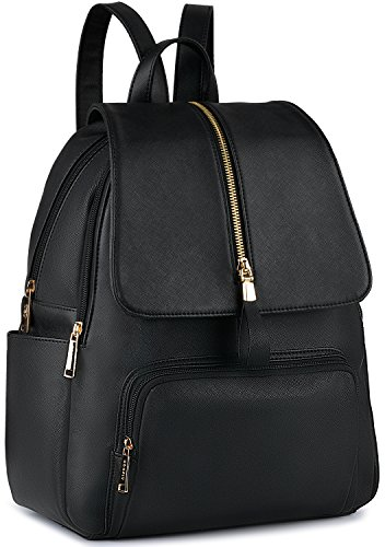 Leather Backpack, COOFIT Black Leather Backpack Women SchoolBag Casual Daypack