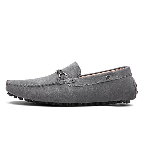 Shoes Decor Genuine Suede Moccasins Gray Metal Sole Vamp Loafers Men Driving Loafers Penny Ruiyue Shoes Leather for Studs AgYqx6Rt