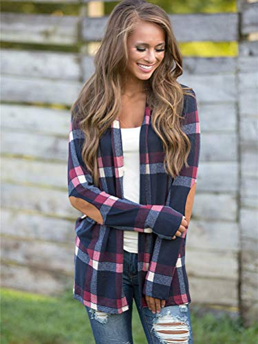 Cardigan Print Chic Patchwork Sleeve Women's Loose Waterfall Plaid Drape Coat Classic Outerwear Blue Jacket Casual Front Open Elegant Tomwell Long wzqBXxOvx
