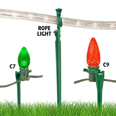 Universal Above Ground Christmas Light Stake (25 Pack) Fits C7, C9, Rope Lights & More