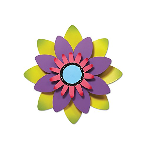 (Studio M Kaleidoscope Collection Kinetic Sculpture Yard Art, 13-inches, Green and Purple Flower)