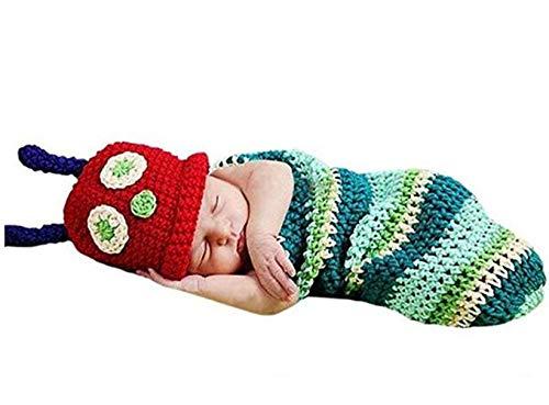 (Baby Set Hand Knit Cartoon Caterpillar Sleeping BagSet Party Costume Photo Props)