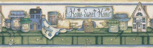 - Brewster 414B06755 Kansas Blue Country Border Wallpaper