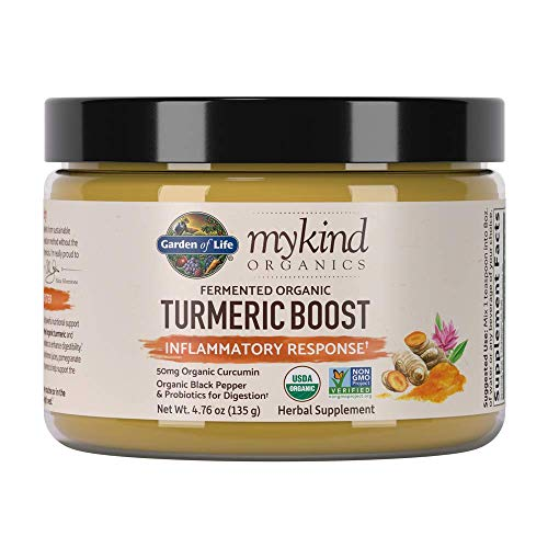 Garden of Life mykind Organics Turmeric Boost Inflammatory Response 4.76oz (135g) Powder - 500mg Curcumin (95% Curcuminoids) & Probiotics, Organic Non-GMO Vegan & Gluten Free Herbal Supplements