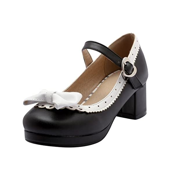 b8a72a49ebdba Agodor Womens Platform Mid Heel Mary Janes Ankle Strap Court Shoes With  Bowtie Retro Closed Toe Cute Pumps