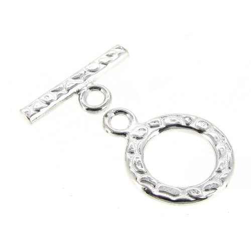 1 set .925 Sterling Silver Textured Bead Toggle Clasp 12mm / Findings / Bright Silver
