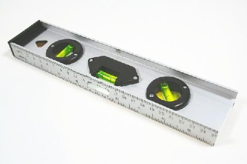 Wasserwaage aus Aluminium 25 cm mit integrierter Meßleiste
