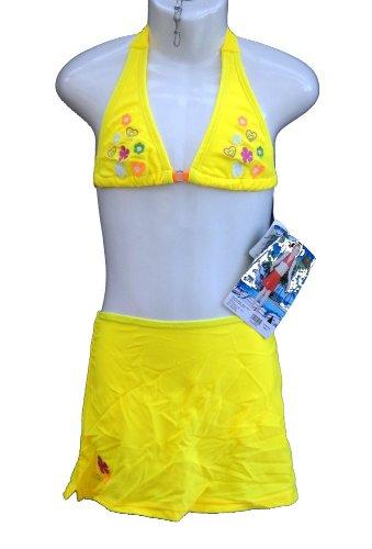 Rosa, süßes 3tlg. Bikini Set mit Strandrock, in gelb Größe 110/116, Y103e