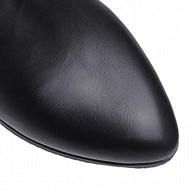 mujer Comodidad puntiaguda Punta Tacón Cuero Novedad combate Botines de Invierno Zapatos de Botas para con Otoño grueso negro hebilla artificial Botines Botas fWZ7qq5gYw