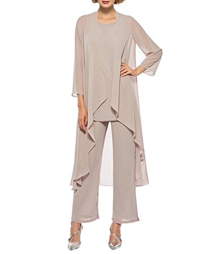 Women's Chiffon Pant Suits Mother of The Bride 3 Pieces Long Jacket Dress Party Outfits Champagne