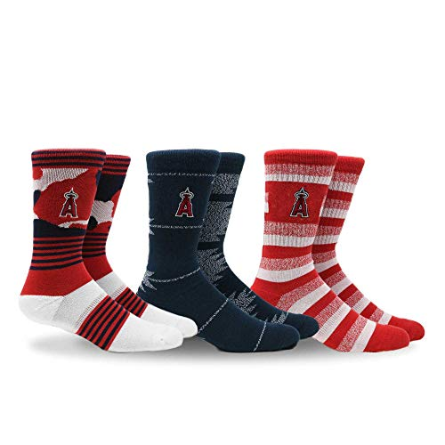 PKWY by Stance MLB Men's Clubhouse Collection 3-Pack Socks (Large, Los Angeles Angels)