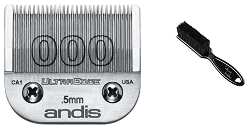 Ultraedge Blades (Andis Carbon-Infused Steel UltraEdge Clipper Blade, Size-000, 1/50-Inch Cut Length & Classic Barber Blade Brush)