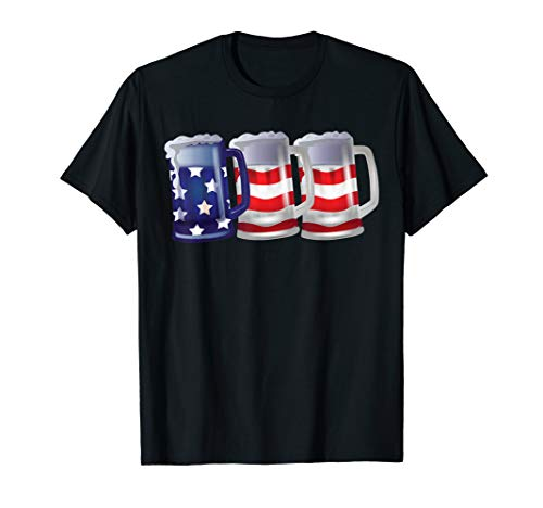 USA Flag Beer Mugs 4th of July Outfit Men Women Clothes Gift T-Shirt