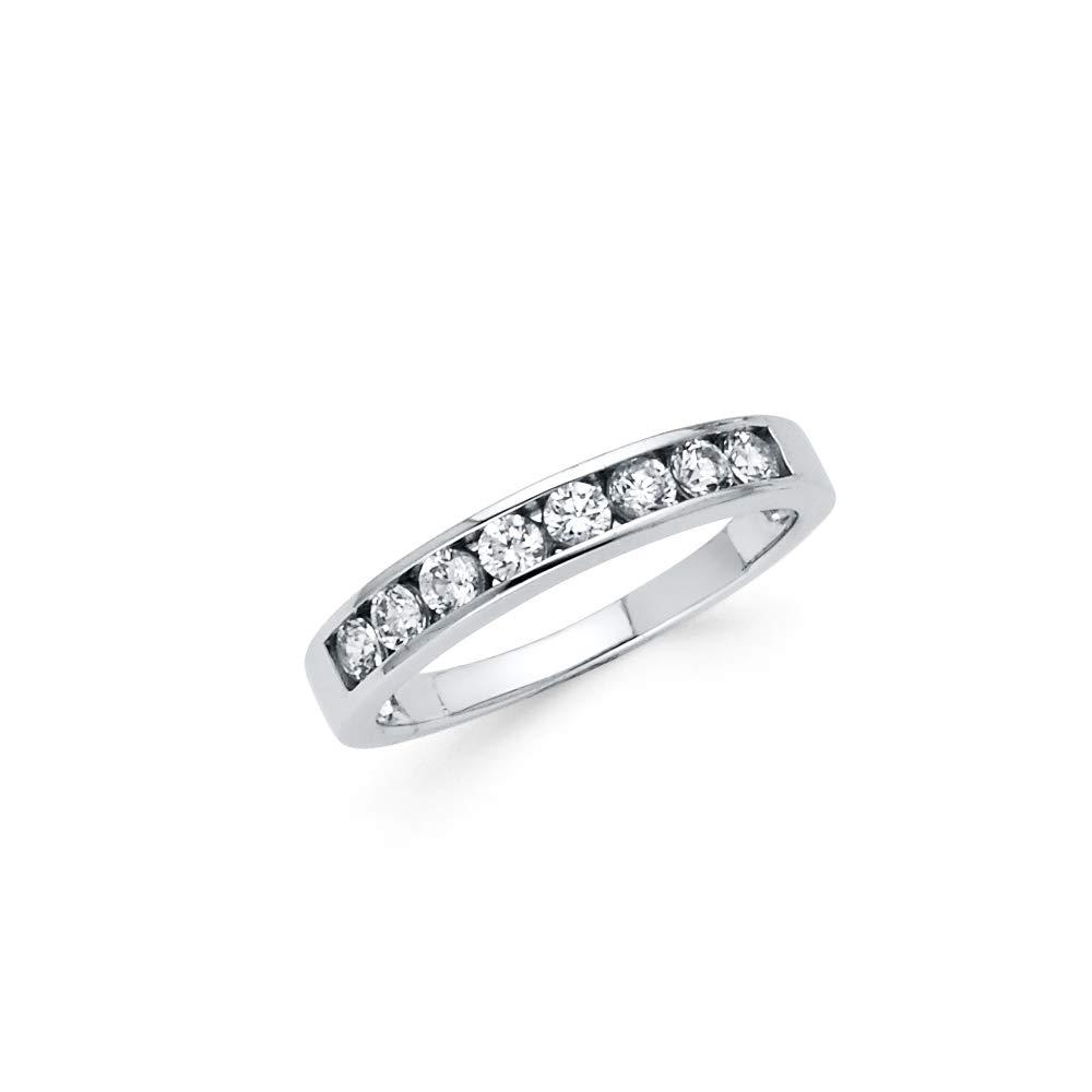 Wellingsale Ladies 925 Sterling Silver Polished Rhodium Channel Set Wedding Band