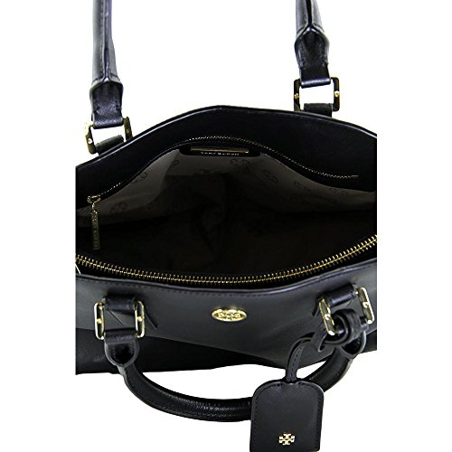 Tory Burch Robinson Open Dome Womens Black Purse Leather Satchel