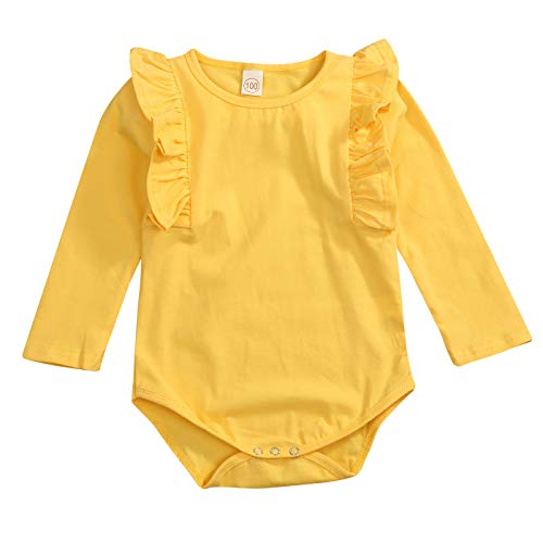 GRNSHTS Newborn Infant Clothes Baby Girls Long Sleeve Ruffles Romper Jumpsuit (B Yellow, 0-6 Months) ()