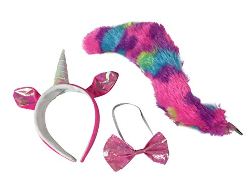 Unicorn Horn and Ears Headband, Bow Tie, and Rainbow Tail Costume Set