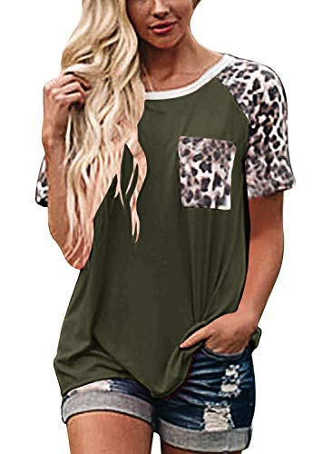 (Topstype Womens Short Sleeve Tops Crew Neck Casual Leopard Shirts with Pocket Tee )